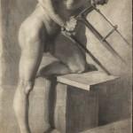 Ignacy Łopieński, Male Nude in the Pose of a Man Sawing, 1890