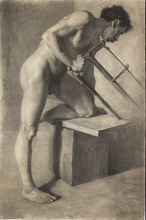 Ignacy Łopieński, Male Nude in the Pose of a Man Sawing, 1890